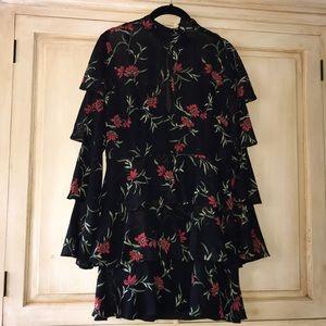 Forever 21 black floral dress-tiered skirt-NEW!